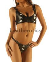Leather Bikini Set Bra Underwear Brief Hot image 3