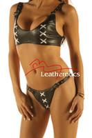 Leather Bikini Set Bra Underwear Brief Hot