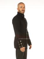 Men's Steampunk Military jacket Top Mandarin Collar jacket - side