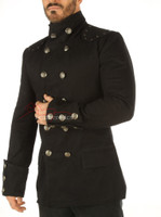 Men's Steampunk Military jacket Top Mandarin Collar jacket - details