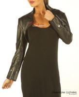 Ladies Leather Top Bolero with long sleeves