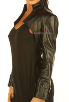 Ladies Leather Top Bolero with long sleeves pic 3