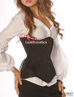 Heavy steel boned Black Satin Underbust Corset 1825