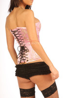 Overbust Corset Pale Pink Cherry Blossom Silk