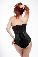 Overbust Grey Strong Fabric Corset with Steel Bones Side View