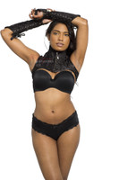 Shoulder neck Corset Cape Shrug Gloves Gauntlets Black Set