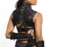 Black leather Shoulder Corset and  Gloves Gauntlets Black Set pic 5 back