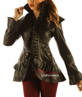 Black Leather  Victorian Military Jacket MD645