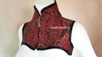 Leatherotics Maroon Shoulder Corset With Gloves Goth Black High Collar image 4