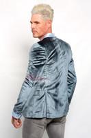 Deluxe Blue Velvet Mens Blazer -back