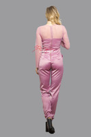 Plunge Jumpsuit/Playsuit/Catsuit All In One Dress With Mesh Arms Pink Back View