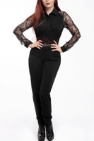 Elegant Feminine Jumpsuit/Catsuit All In One With Lace Arms