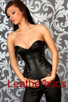Black Leather Corset Jewel Full Steel Boned Overbust 1250