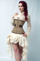 Beige Cotton Under Bust Steel Boned Hipster Corset