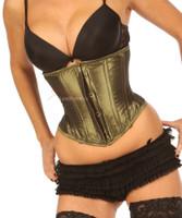 Green satin underbust corset