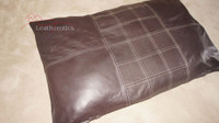 Top Grain Soft Supple Chocolate brown Leather dog bed Cushion Large Pet