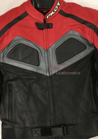 New Full Grain Leather Men's Biker Suit Jacket Red/Black/Grey