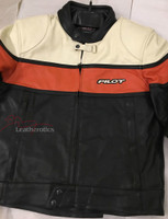 New Full Grain Leather Mens Biker Suit Jacket Orange/Cream/Black