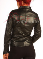 Black Leather Dress Shirt Jacket BG2 back