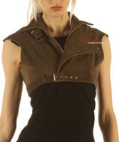 Suede Leather High Waisted Short Waist Coat