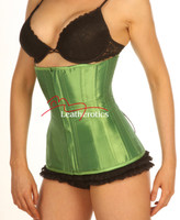 Green Satin Under Bust Steel Boned Hipster Corset