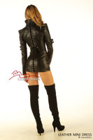 Black Leather Fetish Dress Top Jacket Sexy Skin Tight Dress MD11  image 3