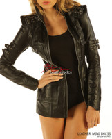 Black Leather Fetish Dress Top Jacket Sexy Skin Tight Dress MD11