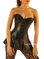 Bespoke Leather Skirted Corset Full Steel Boned Tight Lacing