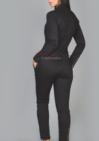 Black cotton catsuit  back view