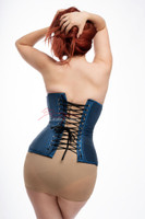 Blue Satin Under Bust Steel Boned Hipster Corset back view