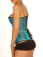 Turquoise Full Steel Boned Corset with modesty panels side