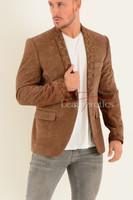 Men's Tan Velvet Blazer 4