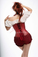 red leather underbust corset