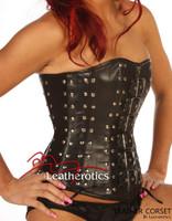 Black Leather Gothic Funky Corset Top Van Helsing Studs 1232B