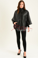 Ladies Fine Leather Cape With Fur Lining full