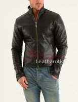 Men's Leather Jacket Cowhide Smart fitted Moto