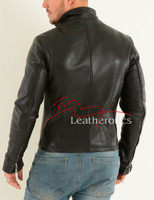 Men's Leather Jacket Cowhide Smart fitted Moto - back