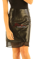 Black Leather Skirt High Waist Nappa Skins NP5 details