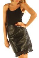 Black Leather Skirt High Waist Nappa Skins NP5 front