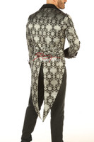 Victorian Tailcoat - Silver on Black Brocade - back view