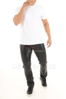 Mens genuine leather pants 4