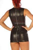 Black Leather Sleeveless Mini Dress Top MD101