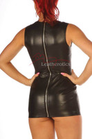 Black Leather Sleeveless Mini Dress Top MD101
