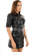 Leather Mini Dress With Pockets - front