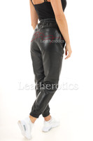 Women's Real Leather Jogging Pants 6