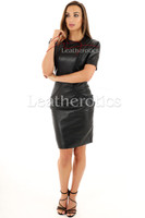 Lavish Soft Black Leather midi Dress With Sleeves - front