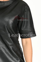 Ladies Leather T-Shirt Perforated 5- details