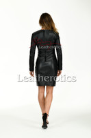Knee length Leather Dress With Sleeves - back