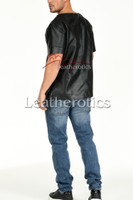 Men's Perforated  Leather T-Shirt - back