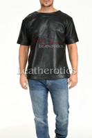Men's Perforated  Leather T-Shirt - front 2
